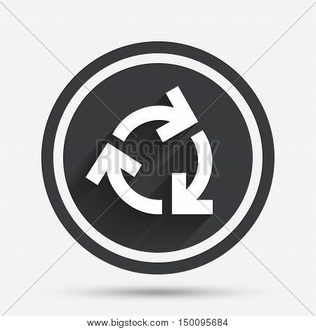 Recycling sign icon. Reuse or reduce symbol.. Circle flat button with shadow and border. Vector
