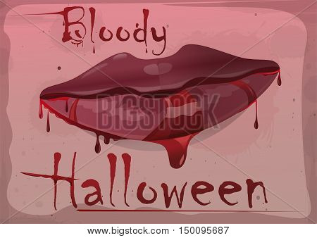 Red feminine lips in blood. Inscription blood - bloody Halloween. Vector vintage illustration.