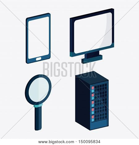Computer smartphone and lupe icon. Big data center base and web hosting theme. Colorful design. Vector illustration