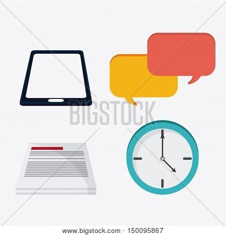 Smartphone bubble document and clock icon. Big data center base and web hosting theme. Colorful design. Vector illustration