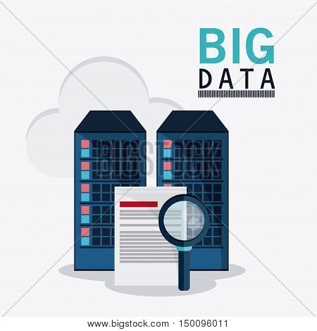 Document cloud and lupe icon. Big data center base and web hosting theme. Colorful design. Vector illustration