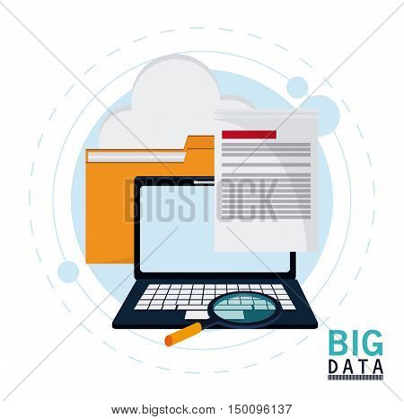 Document file cloud laptop and lupe icon. Big data center base and web hosting theme. Colorful design. Vector illustration