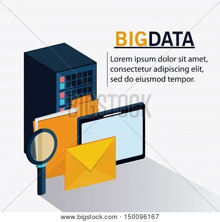 Tablet file lupe and envelope icon. Big data center base and web hosting theme. Colorful design. Vector illustration