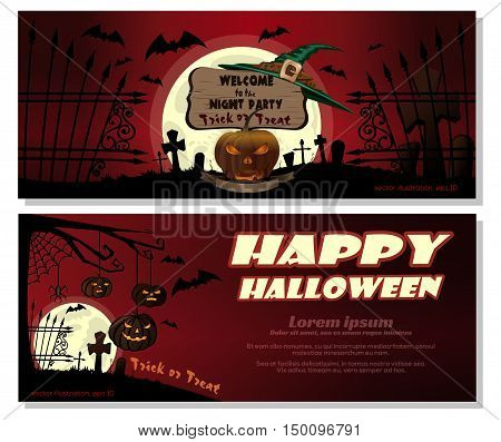 Halloween pumpkins in a cemetery on the background of the red sky and full moon. Invitation to the night party. Vector illustration