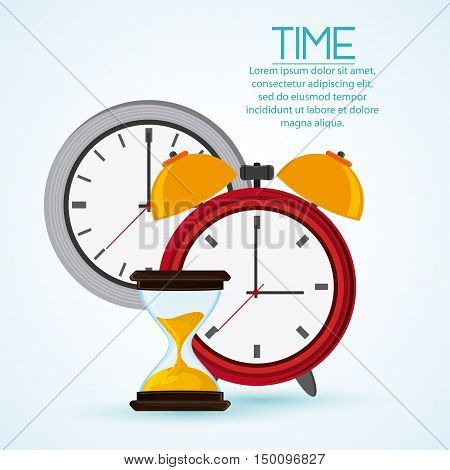 Traditional clock and hourglass icon. Time instrument and tool theme. Colorful design. Vector illustration
