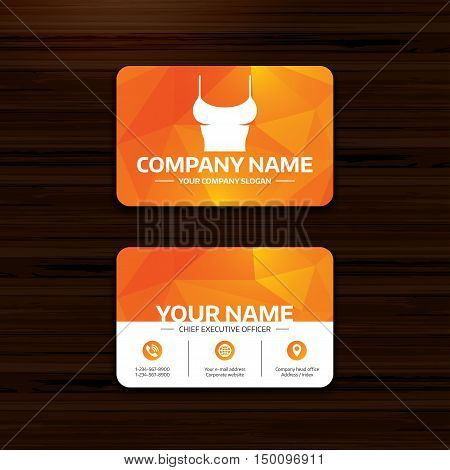 Business or visiting card template. Women T-shirt sign icon. Intimates and sleeps symbol. Phone, globe and pointer icons. Vector