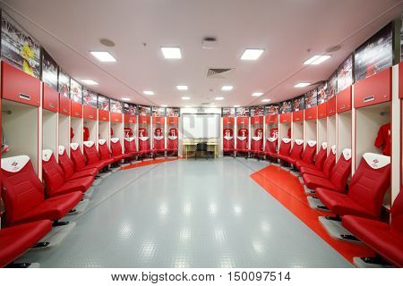 MOSCOW - DEC 25, 2014: Empty private room for football players in Spartak stadium. New stadium is included in list of objects for games will be played at 2018 World Cup