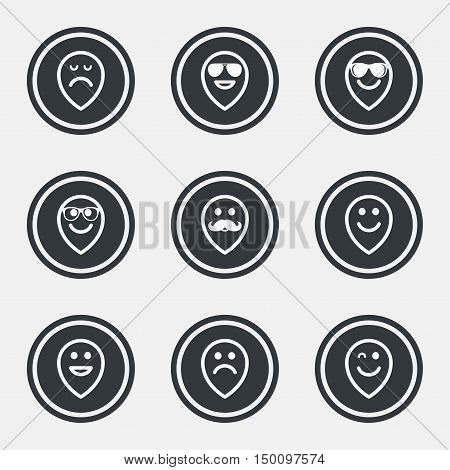 Smile pointers icons. Happy, sad and wink faces signs. Sunglasses, mustache and laughing lol smiley symbols. Circle flat buttons with icons and border. Vector