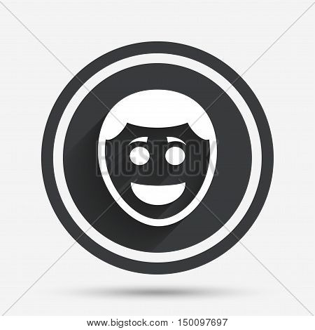 Smile face sign icon. Happy smiley with hairstyle chat symbol. Circle flat button with shadow and border. Vector
