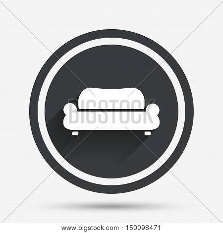 Comfortable sofa sign icon. Modern couch furniture symbol. Circle flat button with shadow and border. Vector
