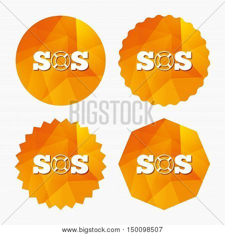 SOS sign icon. Lifebuoy symbol. Triangular low poly buttons with flat icon. Vector