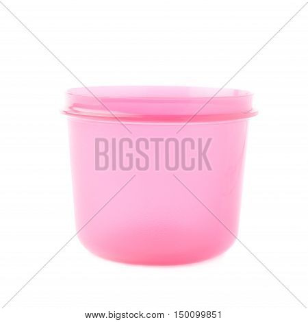 Pink violet plastic beaker cup isolated over the white background