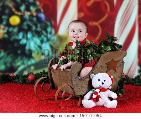 An adorable baby girl happily sitting in a rustic Christmas sleigh.