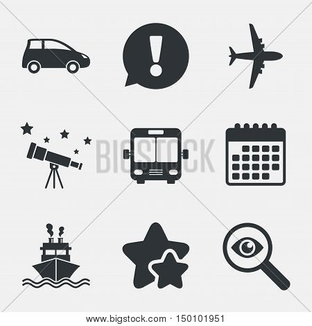 Transport icons. Car, Airplane, Public bus and Ship signs. Shipping delivery symbol. Air mail delivery sign. Attention, investigate and stars icons. Telescope and calendar signs. Vector
