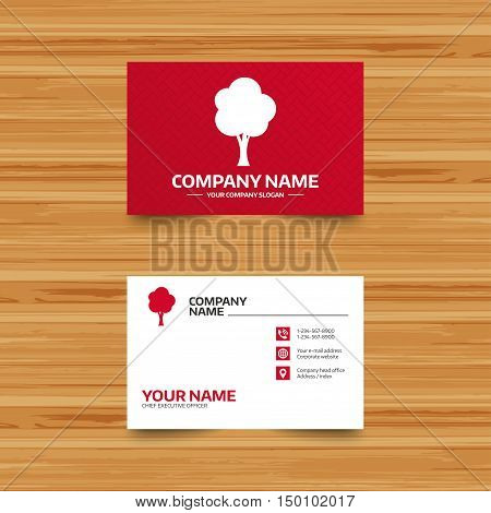 Business card template. Tree sign icon. Forest symbol. Phone, globe and pointer icons. Visiting card design. Vector