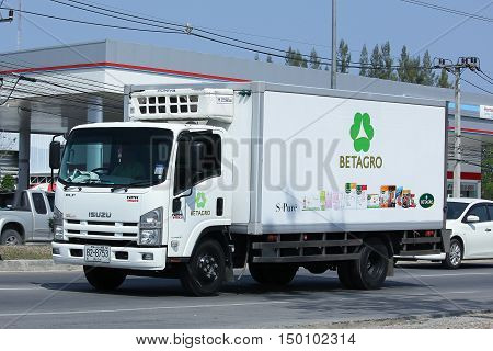 CHIANGMAI THAILAND -FEBRUARY 29 2016: Refrigerated container truck of Betagro Company. On road no.1001 8 km from Chiangmai Business Area.