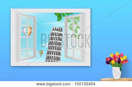 Vector illustration of Opened wooden window and view on Leaning tower Pisa