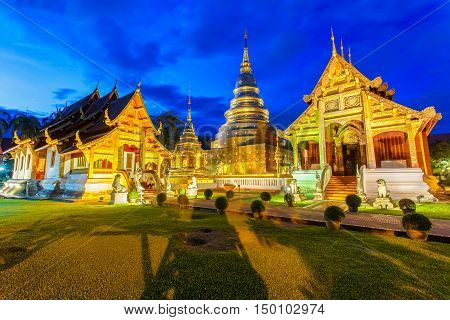 Wat Phra Singh is located in the western part of the old city center of Chiang MaiThailand