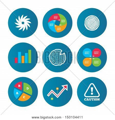 Business pie chart. Growth curve. Presentation buttons. Wood and saw circular wheel icons. Attention caution symbol. Sawmill or woodworking factory signs. Data analysis. Vector