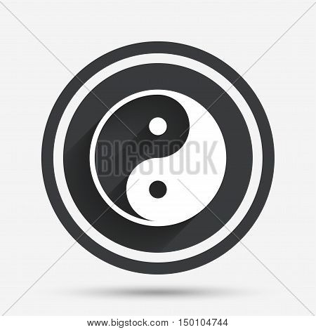 Ying yang sign icon. Harmony and balance symbol. Circle flat button with shadow and border. Vector