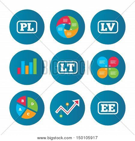 Business pie chart. Growth curve. Presentation buttons. Language icons. PL, LV, LT and EE translation symbols. Poland, Latvia, Lithuania and Estonia languages. Data analysis. Vector