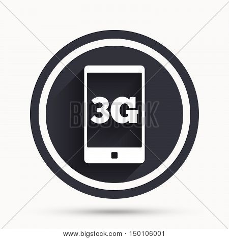 3G sign icon. Mobile telecommunications technology symbol. Circle flat button with shadow and border. Vector