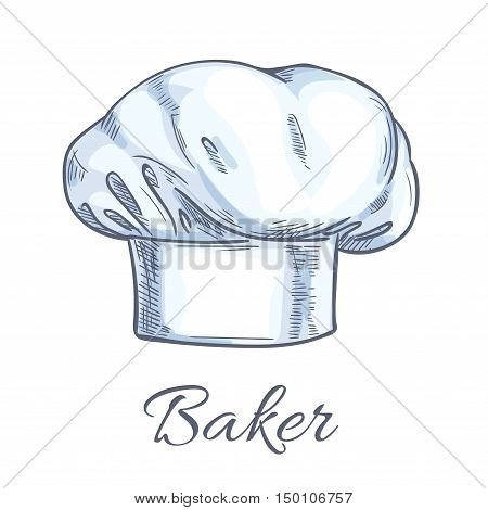 Baker toque or chef hat sketch with white professional uniform headwear of executive chef, sous-chef, cook, range chef and other kitchen staff. Restaurant, cafe, food service themes design