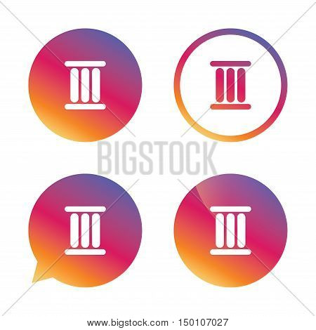 Roman numeral three sign icon. Roman number three symbol. Gradient buttons with flat icon. Speech bubble sign. Vector
