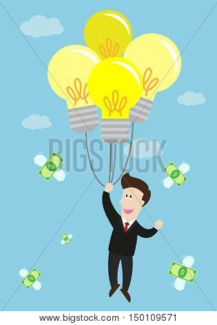 businessman float in the air by idea light bulb balloon. many flying money bill around him. success in business.