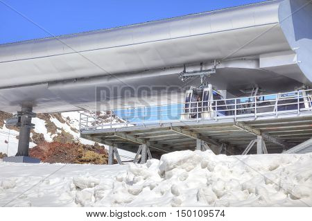 CAUCASUS RUSSIA - May 01.2015: Station of Aerial lift on a mountain Elbrus. First level