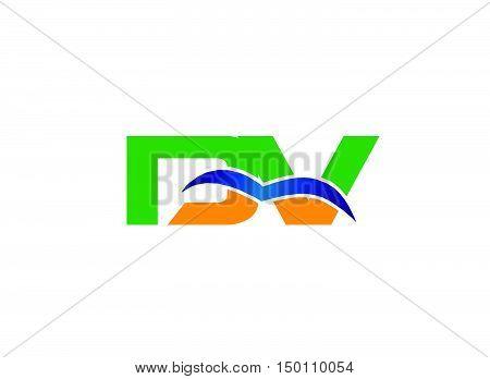 DV company linked letter logo design vector template