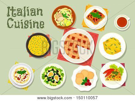 Italian cuisine pasta dishes icon served with sausage, ham, cream sauce and chicken, tomato egg pie, polenta, potato dumpling, eggplant casserole, almond cookie, tuna salad, cheese cake
