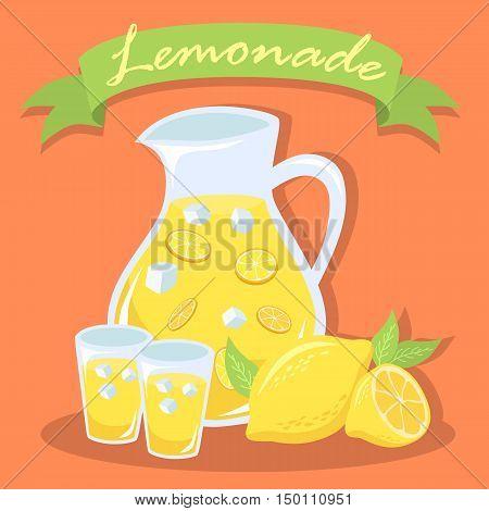 Illustration of a pitcher of lemonade, glass of lemonade, and lemon fruit in red-orange background with green label.