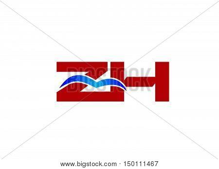 ZH Logo. Vector Graphic Branding Letter Element vector design