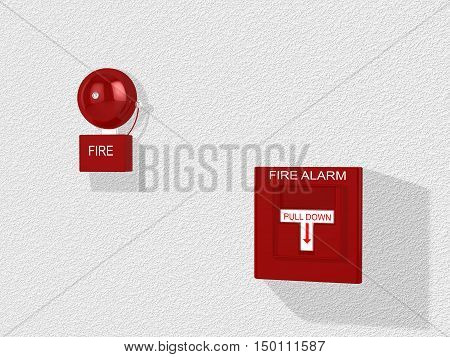 Red fire alarm switch with pull down lever and an alarm bell attached to a white wall 3D illustration