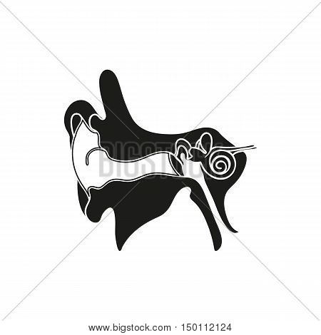 Simple black Parts or system of the Human Ear Auricle icon on white background