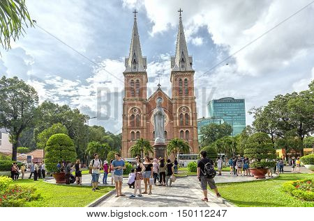Ho Chi Minh City, Vietnam - October 2nd, 2016: Notre Dame cathedral in a daylife beauty buildings over a hundred years old, this is place attract tourists to admire in Ho Chi Minh City, Vietnam.
