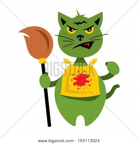 Crazy green kitten. Isolated on a White Background