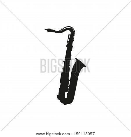 Black simple saxophone icon isolated on white background. Elements for company print products page and web decor. Vector illustration.