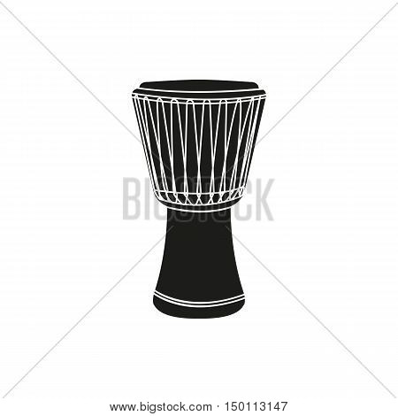 Black simple djembe icon isolated on white background. Elements for company print products page and web decor. Vector illustration.