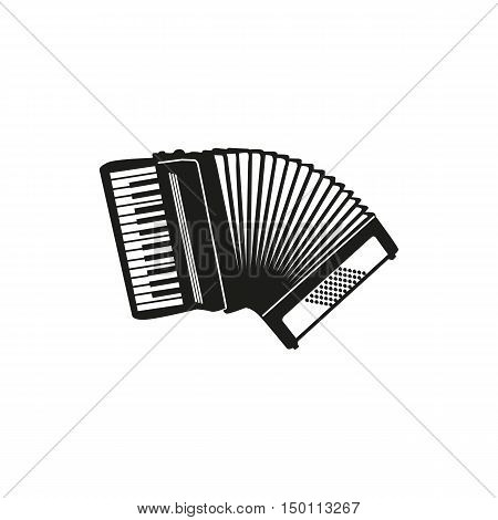 Black simple Accordion icon isolated on white background. Elements for company  print products page and web decor. Vector illustration.