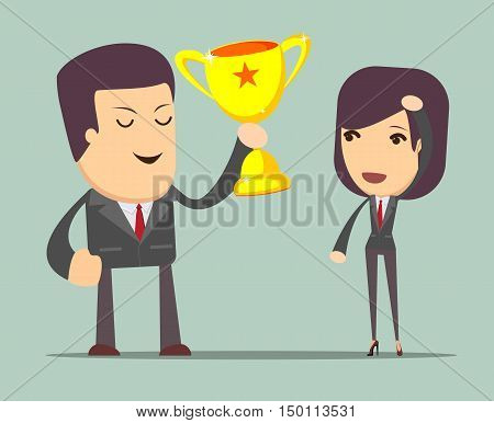 a man holding up a gold trophy cup as a winner in business. Stock vector illustration