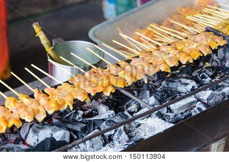 Grilled pork Thai Street Food Satay Street Market
