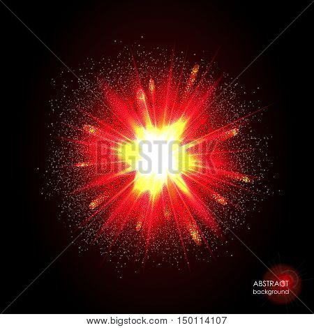 Explosion of supernova. Bright cosmic red & yellow fire background. Glowing space. Bundle of energy. Cloud of dust and light on black. Fireworks, holiday. Abstract composition. Vector illustration