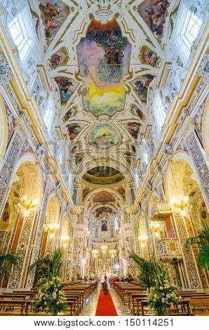 Interior Of The Church Of The Gesu In Palermo, Sicily, Italy.