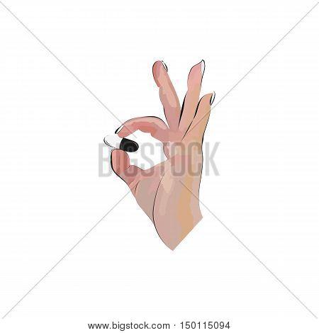 Hand holding a pill. Vector Illustration. Medicine vector illustration in modern cartoon style.