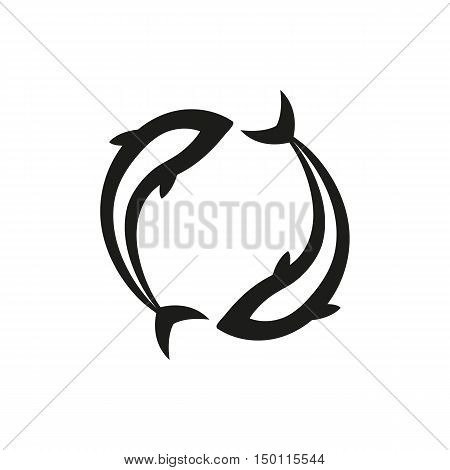 Pisces simple black icon isolated on white background. Elements for company print products page and web decor. Vector illustration.