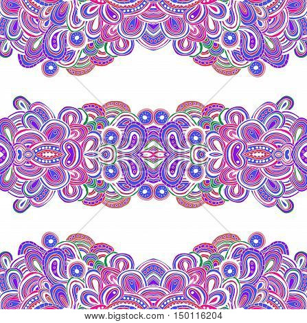 Seamless doodle pattern, vector illustration. Colored in pink, blue and white colors tracery.