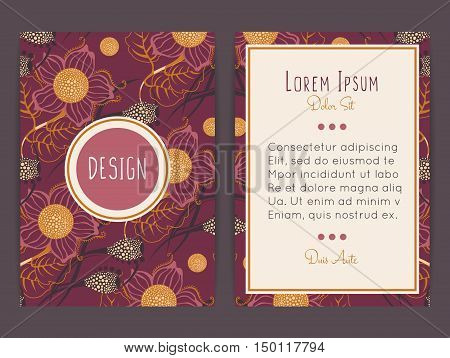 Cover design with floral pattern. Hand drawn flowers. Flowering plants. Bloom. Brochure invitation flyer card or book cover. Size a4. Vector illustration eps10