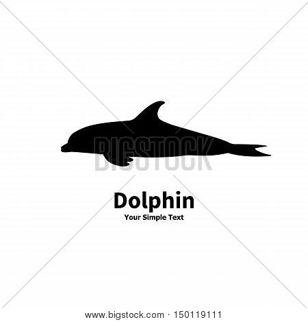 Vector illustration of black silhouette of a dolphin isolated on a white background. Side view profile.
